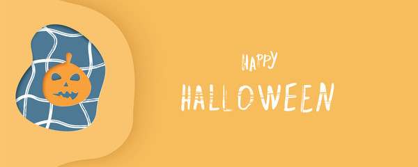 Happy Halloween template with paper cut shapes. Vector illustration.