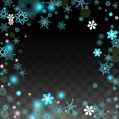 Christmas  Vector Background with Blue Falling Snowflakes Isolated on Transparent Background. Realistic Snow Sparkle Pattern. Snowfall Overlay Print. Winter Sky. Design for Party Invitation.