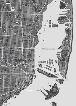 City map Miami, monochrome detailed plan, vector illustration