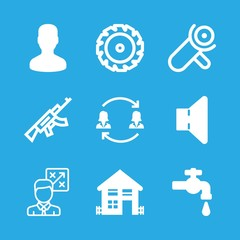 man icons set with speaker, tap and rifle vector set