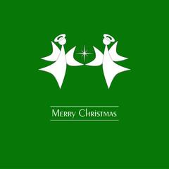 Merry Christmas - Grußkarte mit Engeln