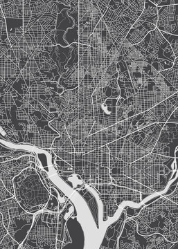 City map Washington, monochrome detailed plan, vector illustration