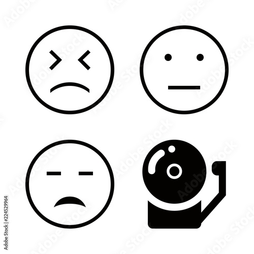 Response Icons Set With School Bell Sad Face Emoticon Outline And