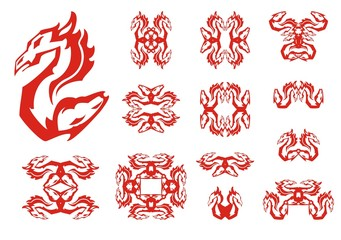 Dragon and horse double flaming abstract symbols. Aggressive unusual symbol created by the head of a dragon and the horse head. Tribal flaming symbols set in red and white tones for your design