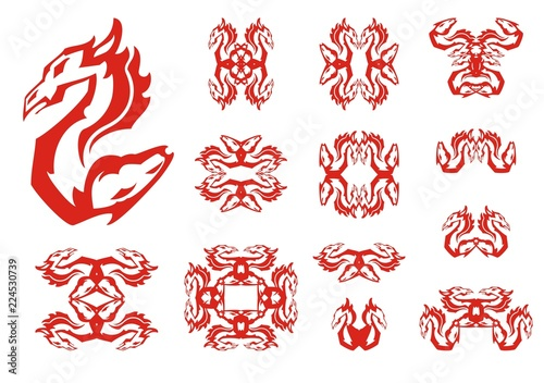 Dragon And Horse Double Flaming Abstract Symbols Aggressive Unusual