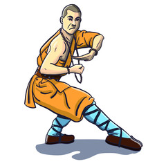 isolated vector comic shaolin monk in kung fu pose. traditional asian clothes