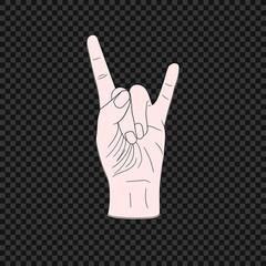 Vector Rock Symbol, Hand Jesture, Colored  Illustration on Dark Background.