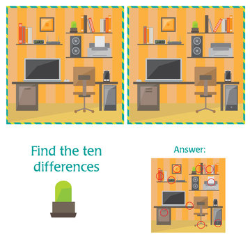 Cartoon Vector of Finding Differences Between Pictures Educational Activity Game - office item