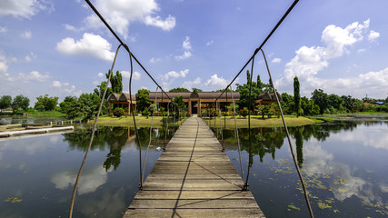 a pavillon at the lake near the Sai Ngam Bayan Tree in the Town of Phimai in the Provinz Nakhon Ratchasima in Isan in Thailand.