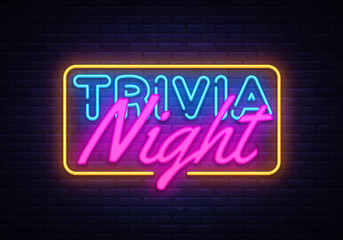 Trivia Night neon sign vector. Quiz Time Design template neon sign, light banner, neon signboard, nightly bright advertising, light inscription. Vector illustration