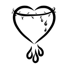 Heart with a crown of thorns and drops, a sacrifice of Christ, love