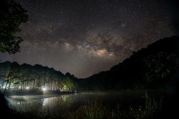 star and milky way at night in Pang Oung, Thailand