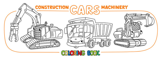 Construction equipment cars set. Coloring book