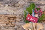 weihnachten essen gedeck holz hintergrund rustikal. Black Bedroom Furniture Sets. Home Design Ideas
