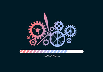 Loading files with mechanism illustration. Update. Vector illustration design. Wall mural