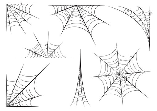 Halloween cobweb set in hand style with spiders. Vector illustration design.