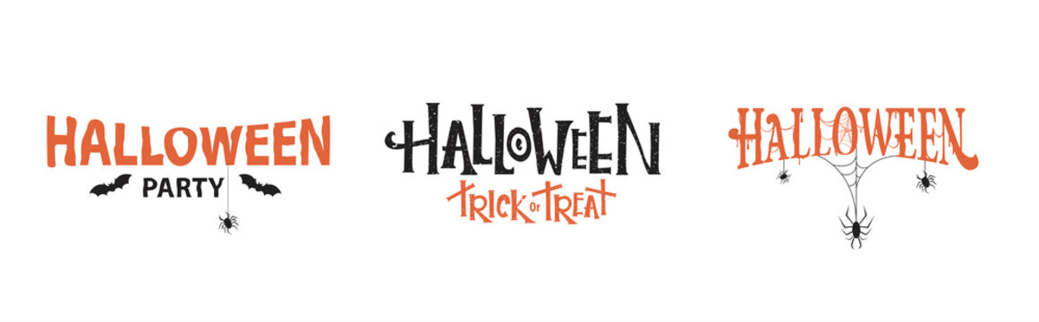 Halloween typography set  with spiders and cobweb. Vector illustration.