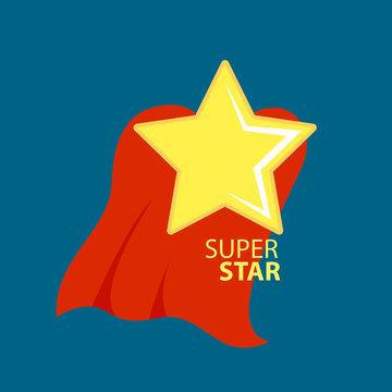 Super star with cape or cloak. Comics style. Vector illustration design.
