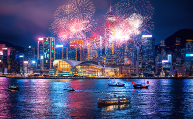 Aluminium Prints Asian Famous Place Firework show in Hong Kong Victoria Harbor