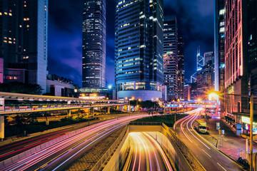 Street traffic in Hong Kong at night Fotomurales
