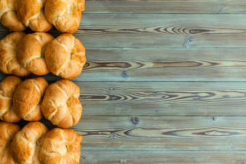 tasty fresh golden flaky croissants border