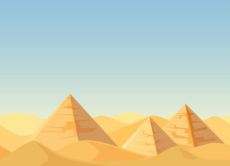 Egypt Pyramids desert landscape cartoon flat vector Illustration.