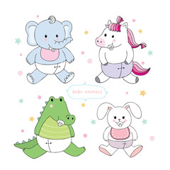 Cartoon cute baby animals vector.