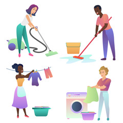 Isolated vector adult people cleaning up indoors. Cleaning home.
