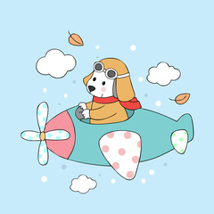 Cartoon cute dog and airplane vector.