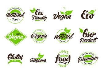 Collection of natural or eco labels , logos. Vegan, Bio, gluten. Vector illustration design.