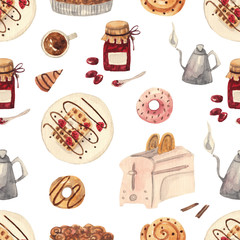 Seamless watercolor cozy pattern with sweets. Donuts, wafers, jam, toaster, kettle, pie, coffee
