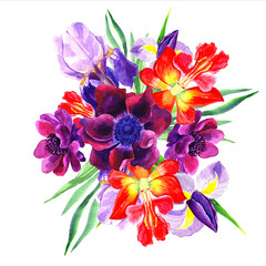 Flowers watercolor illustration. Manual composition. Mother's Day, wedding, birthday, Easter, Valentine's Day. Spring. Summer.