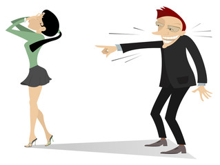 Laughing man and crying woman illustration. The man laughs and points a finger to crying woman who covers her face with hands isolated on white illustration