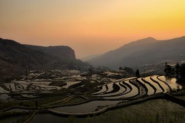 Sunrise at Rice Terraces in Yuanyang, Yunnan, China
