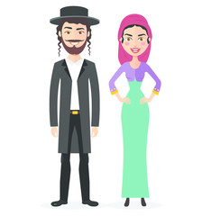 Jewish couple  traditional clothes hasid rabbi rabbin national vector illustration mother, father