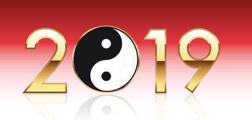 Nouvelle année 2019 sous le signe du yin yang symbole chinois de la dualité