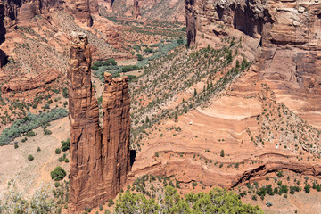 View of Spider Rock, the famous rock formation in Canyon De Chelly National Monument in the Four Corners area of Arizona