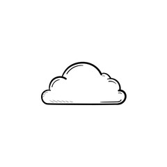 Cloud hand drawn outline doodle icon. Cloud computing and technology, database and storage, download concept. Vector sketch illustration for print, web, mobile and infographics on white background.