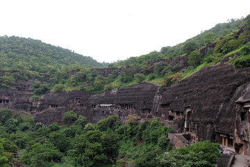 The view of Ajanta caves, the rock-cut Buddhist monuments.