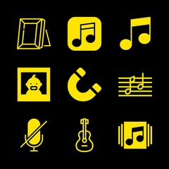 classical icons set with magnet rotated tool symbol, picture and muted vector set