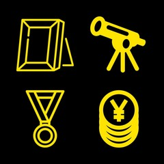 golden icons set with telescope astronomy tool to observe space from distance, picture frame and champions medal vector set