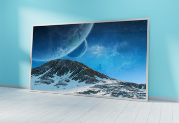 Large horizontal frame leaning on a blue wall 3D rendering