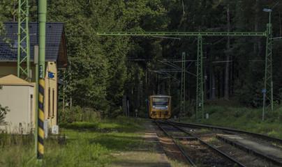 Rozmberk nad Vltavou station with yellow diesel train