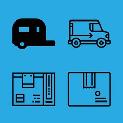 4 van icons with motorhome and package in this set