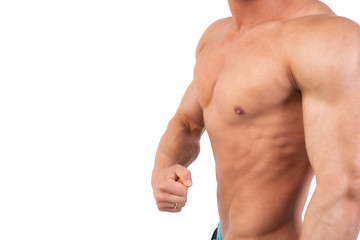 Handsome man and athletic body. White background.