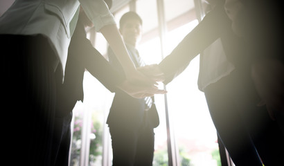 people team stack hands support teamwork
