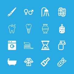 16 bathroom icons with toothbrush and bathtube in this set