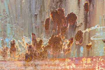 Rust covered weathered iron steel metal background with rusty peeling blistering paint