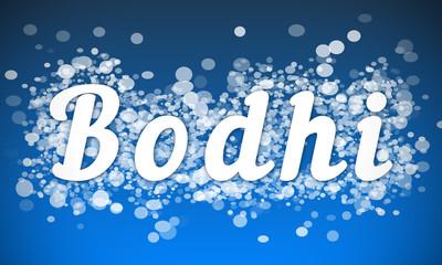 Bodhi - white text written on blue bokeh effect background