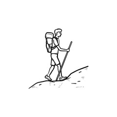 Tourist backpacker climbing hand drawn outline doodle icon. Hiker and explorer, travel and backpack concept. Vector sketch illustration for print, web, mobile and infographics on white background.